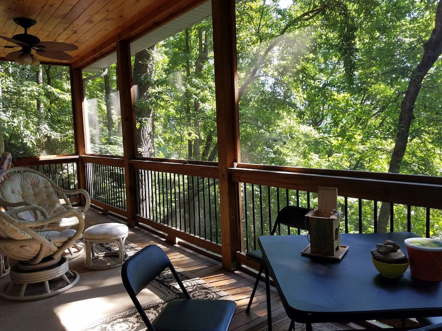 Screened in porch catches the  cross breeze of the East West forests overlooking the horse shoe right Ridge Mountains view, while the grand central station of hummingbird visit you.