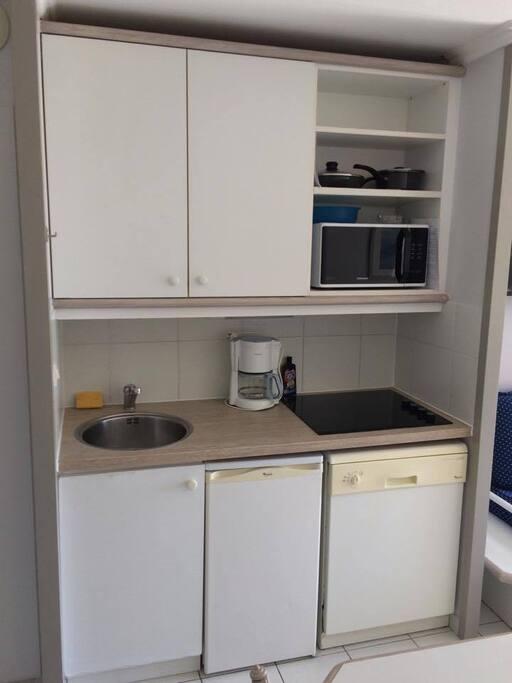 Plaque vitro céramique, petit frigo, placards rangements, vaisselle à disposition, lave vaisselle, grille pain, poêle(s), casserole(s), micro-onde, cafetière