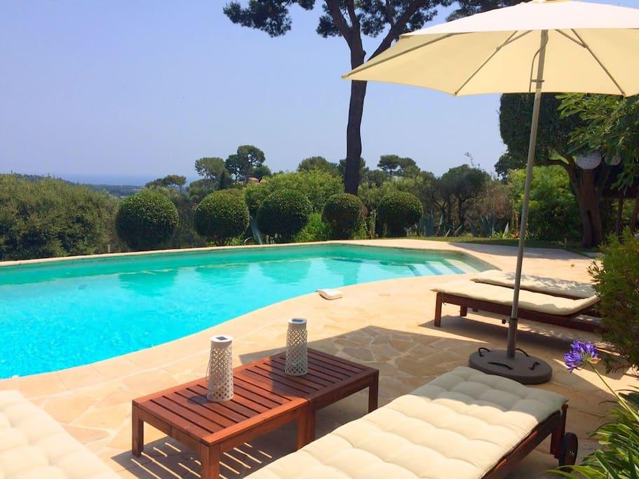 Espace piscine avec bains de soleil et vue mer