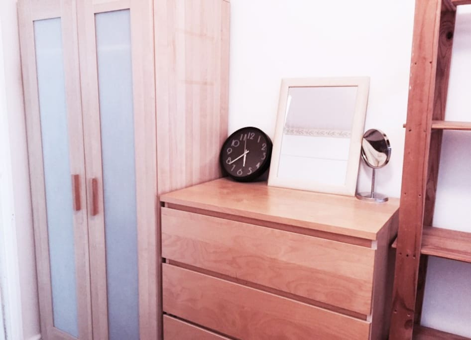Coat hangers, wardrobe, chest of drawers, display unit inside the room