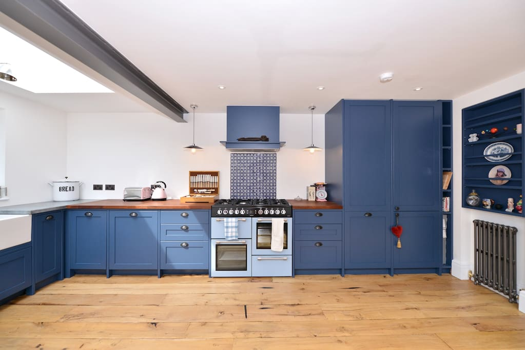 Traditional English kitchen with range booker and butler sink.