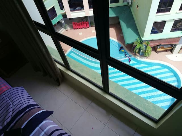 Exciting view of swimming pool from bedroom 3