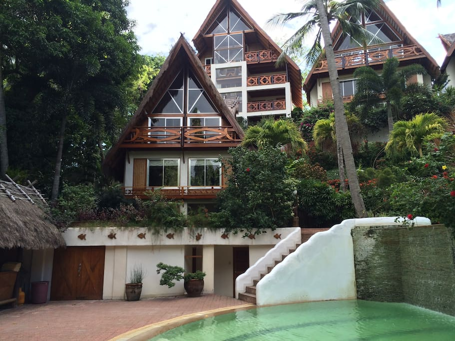 The home is one of five and is close to the pool