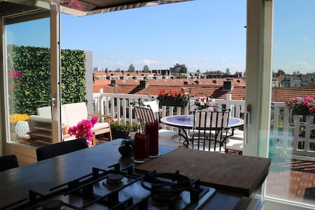 Unique house, sunny roof terrace, 5min Vondelpark - Amsterdam - Apartment