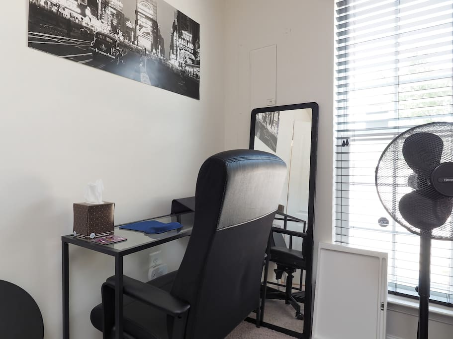 Laptop desk with leather office chair