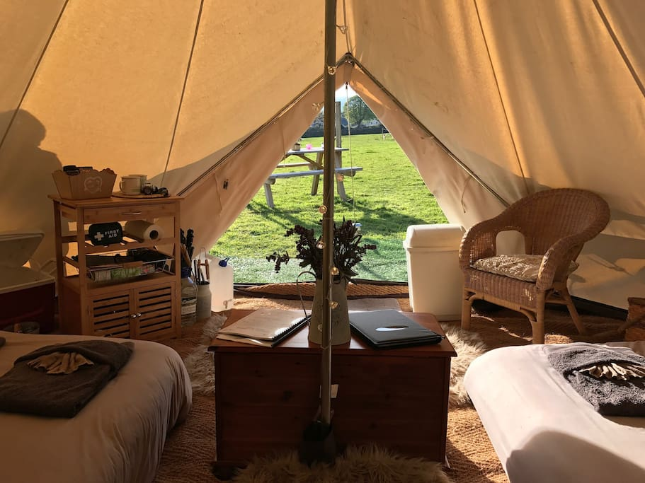 Indulge in the joys of waking up outdoors from a fine bell tent.