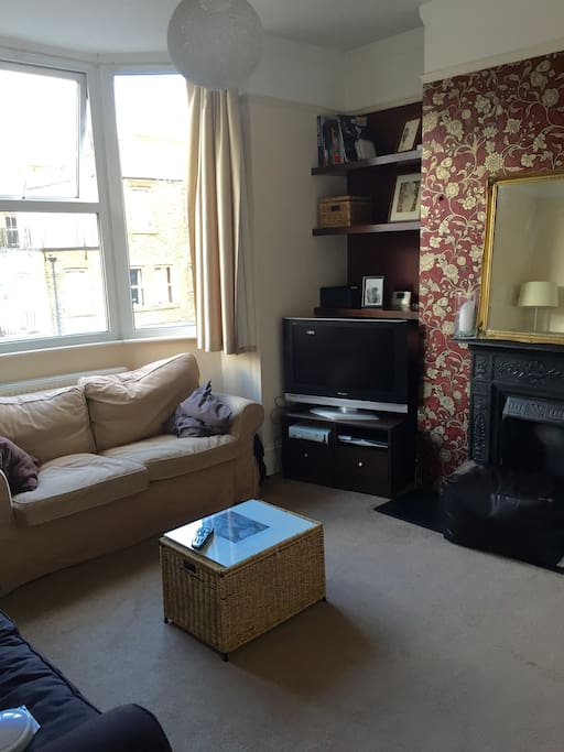 Nice warm living room with two sofas, Victorian fireplace and flatscreen with Apple TV box, Sky box and Xbox.