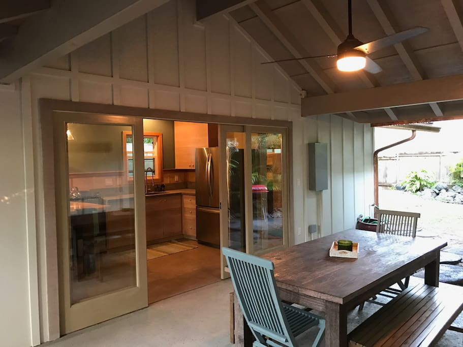 Indoor outdoor living on the large covered lanai from the kitchen.