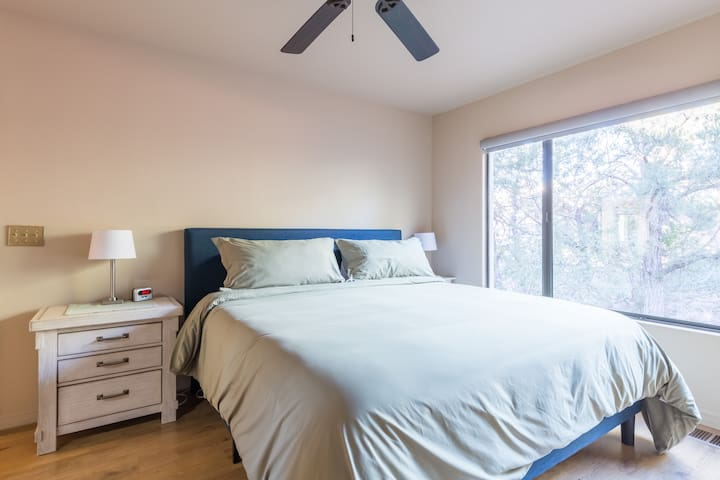 Bedroom 2 has a Luxury Gel/Foam Matress with 1500 thread count Linens, Luxury Down Alternative Comforter and 750 count Duvet Covers.  Luxury Serta Pillows. Two semi, Walk in Closets. This Bedroom shares a Large Batroom with Bedroom 1.