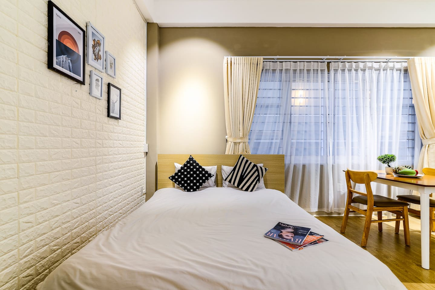 Comfy high-quality bed with private dining table inside the flat