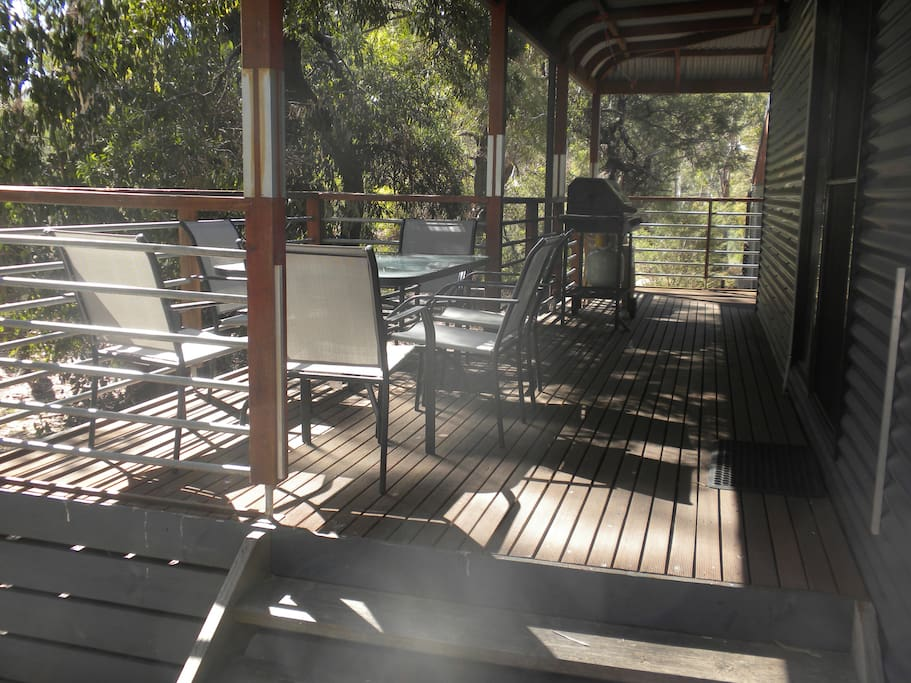 Veranda, perfect for watching wildlife wander past. Four burner BBQ for cooking your feast.