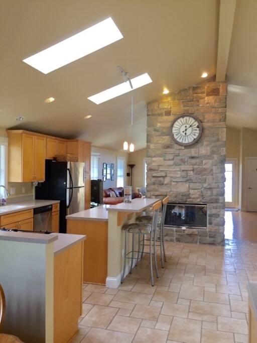 Kitchen w/ Fireplace