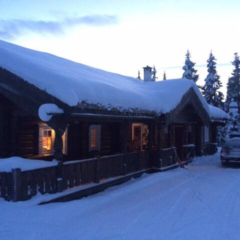 Stor tømmerhytte med lun atmosfære i Valdres!