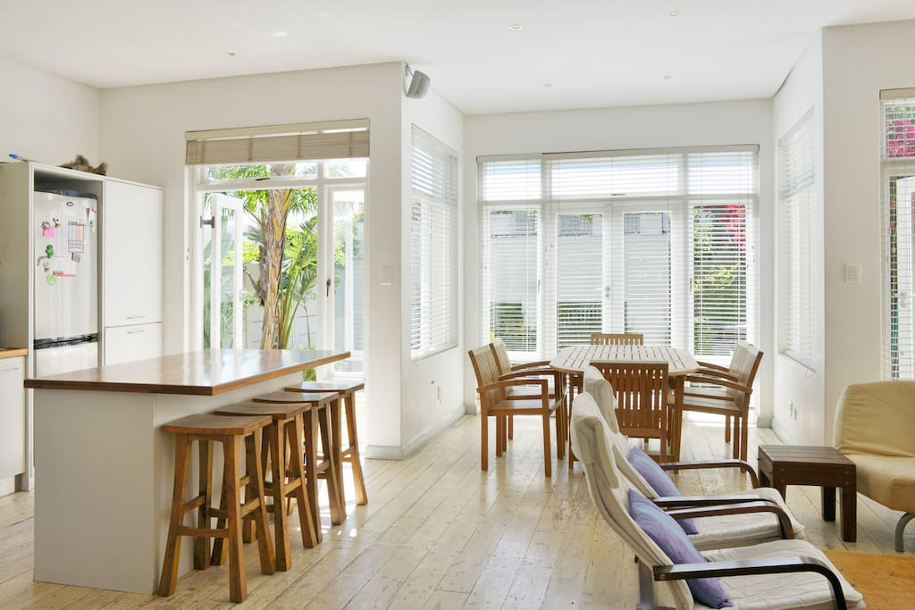 """The light, spacious open plan kitchen, dining room and lounge make for comfy holiday """"kuier"""""""