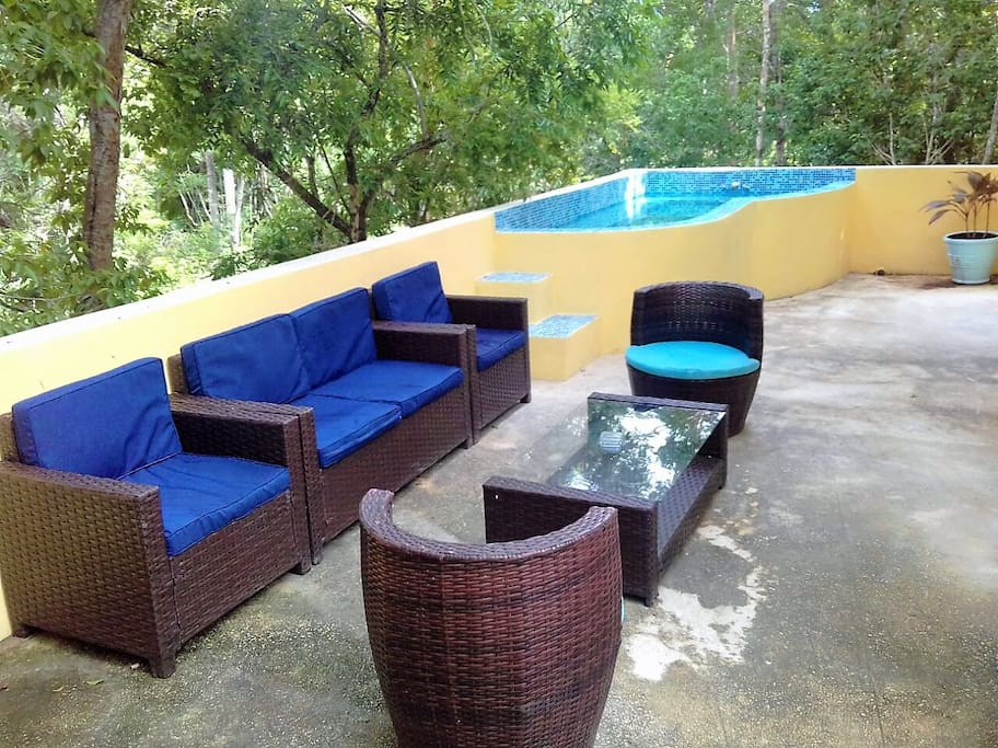 Roof terrace with plunge pool, seating and bbq