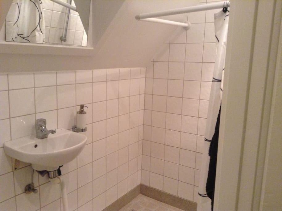 Badeværelset med toilet og bad deles med beboeren