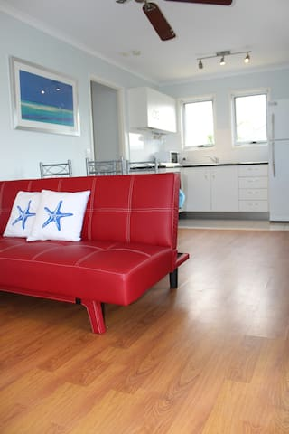 Snazzy couch converts to a double bed.
