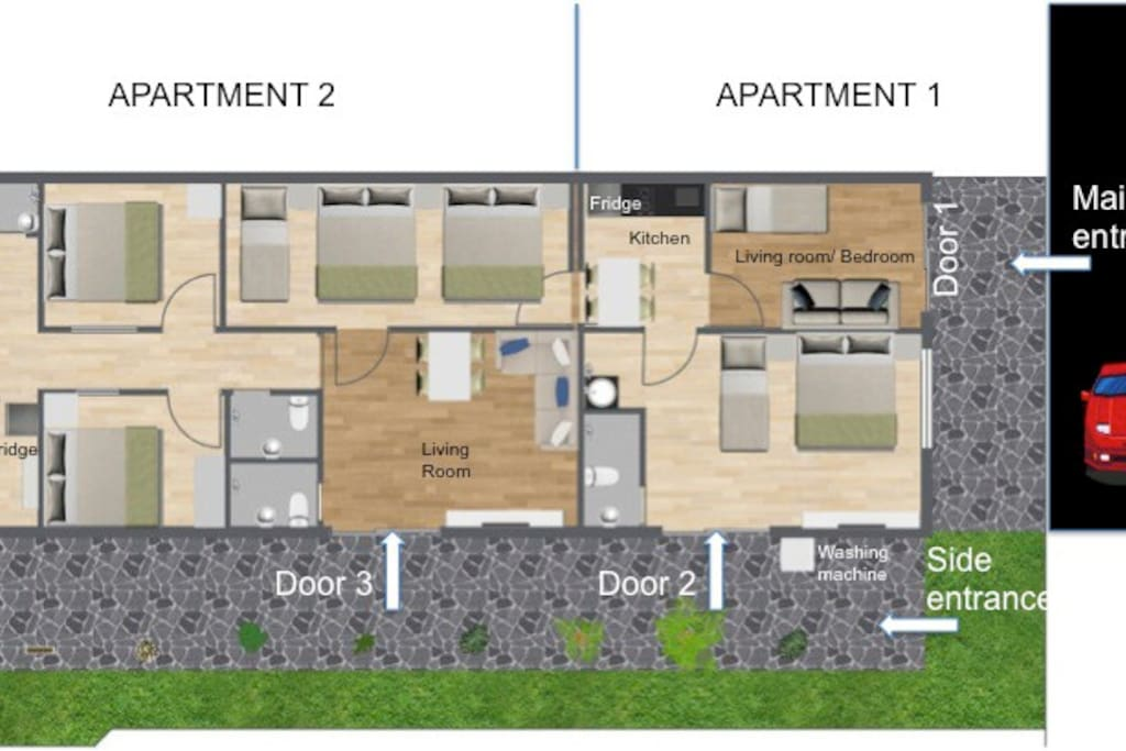 Apartment 1 for 4 guests. Apartment 2 for 10 guests. Listed price is for Apartment 2 only. Please enquire for Apartment 1.