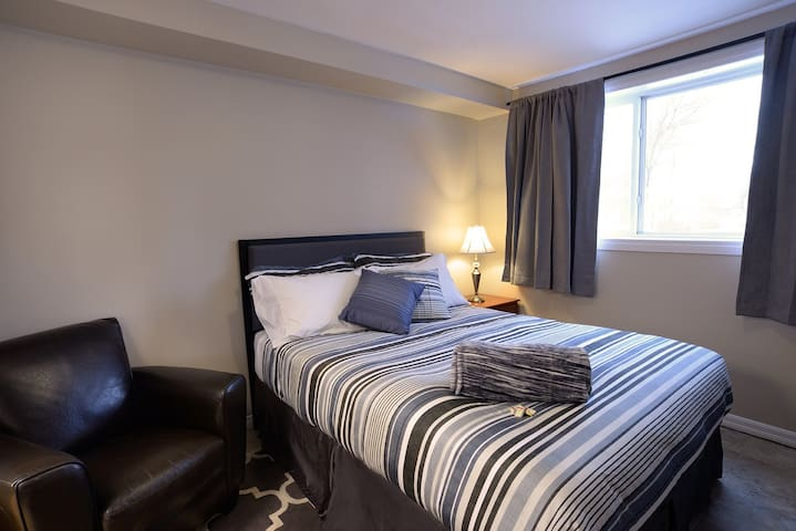 Our suite offer a queen size bed so two guests can stay comfortably.