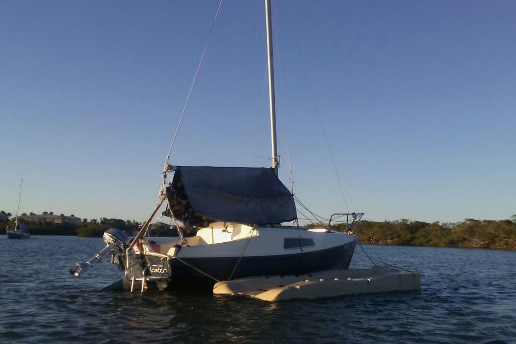 Floating dock for easy access on or off vessel.