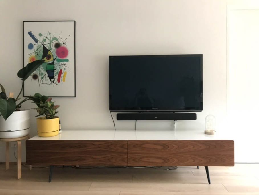 Large smart TV with sound bar - complete with apple TV