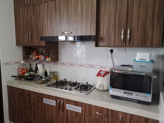 Kitchen for cook. Here we have stove which using gas and a Steam Oven