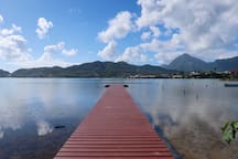 Escape to private boat dock along the water. This is the perfect launching point for kayaking or Stand up paddleboarding (SUP)