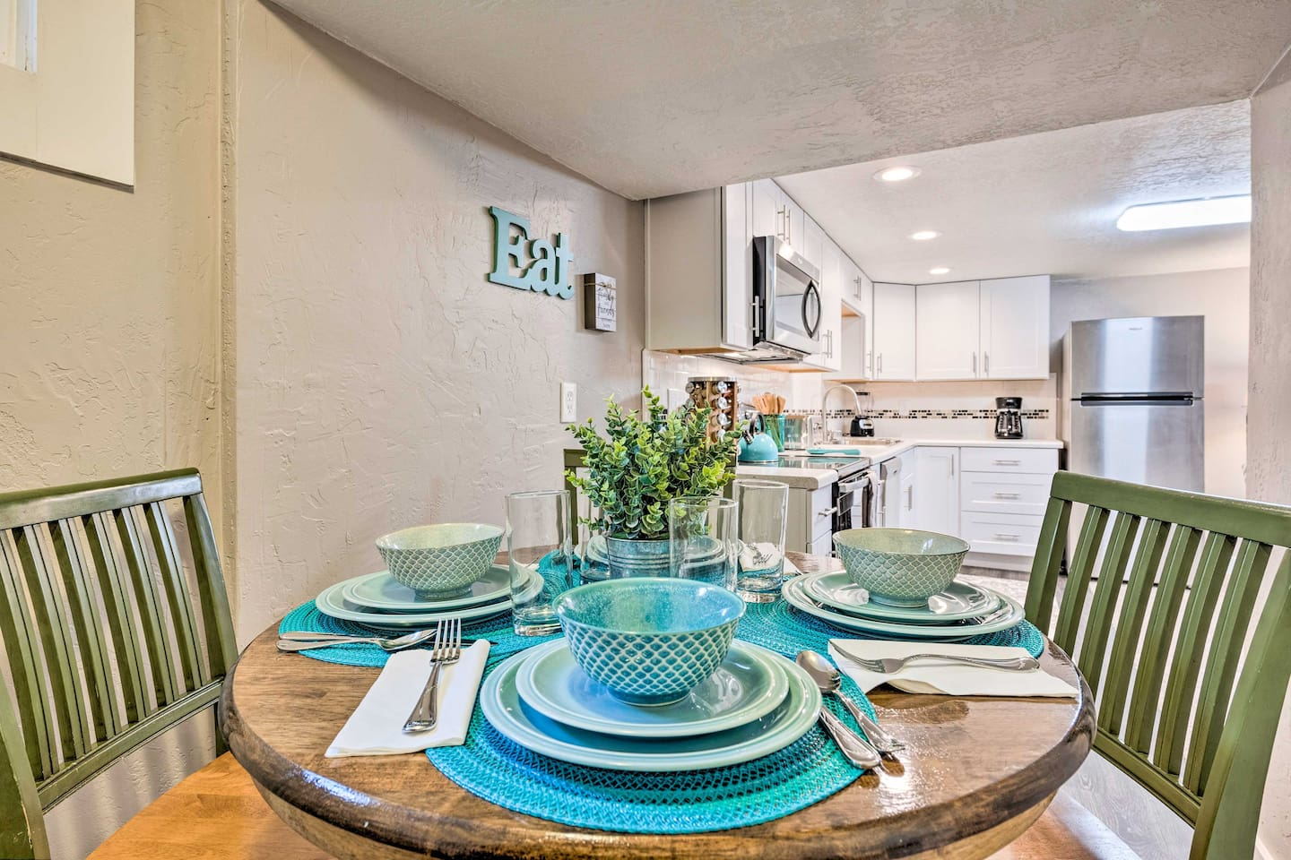 Dine at the charming 4-person kitchen table.