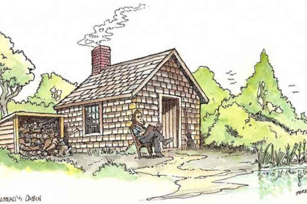 Enjoy sitting in front of your cabin like Thoreau at  Walden.