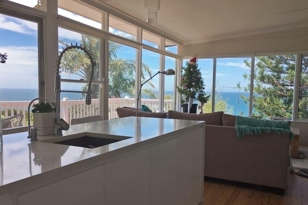 Beautiful kitchen overlooking the ocean