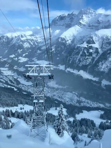 View from cable car down to Champéry, 30th January 2019