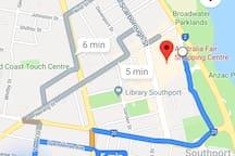 Falconer street to shopping centre Cole's Woolworths etc. Please take note of the location please.