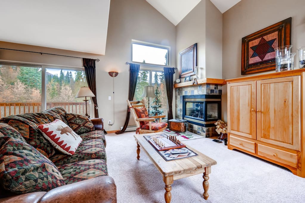 Cozy up to the gas fire place.