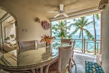 Dining table overlooking the sea