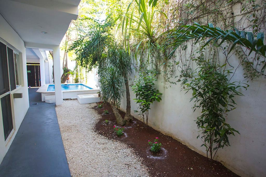 The patio with green areas offers lots of shade