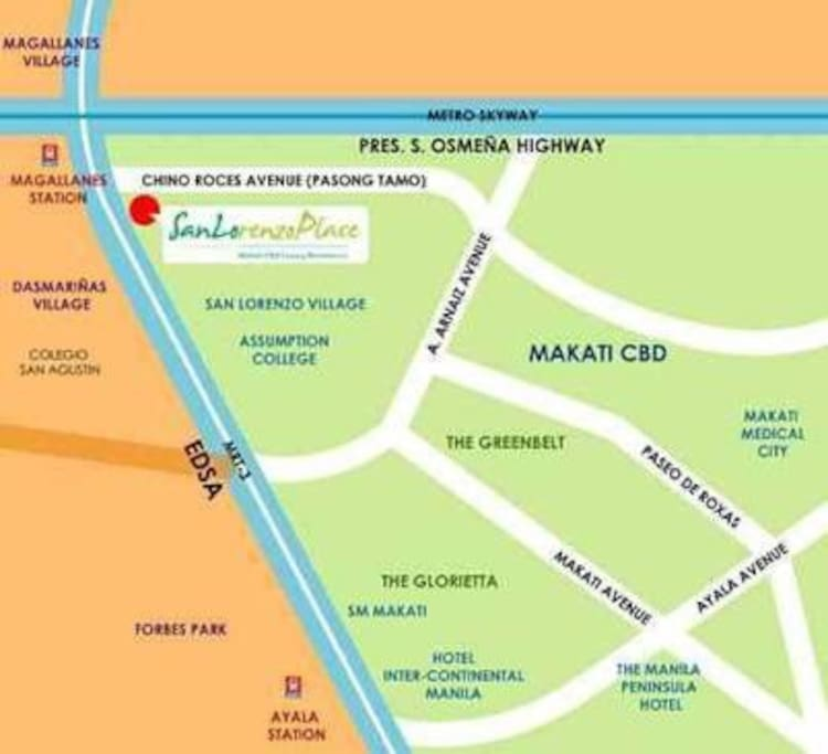Vicinity Map.  Vehicle entrance is along Chino Roces Avenue.  Pay parking is available within the property.