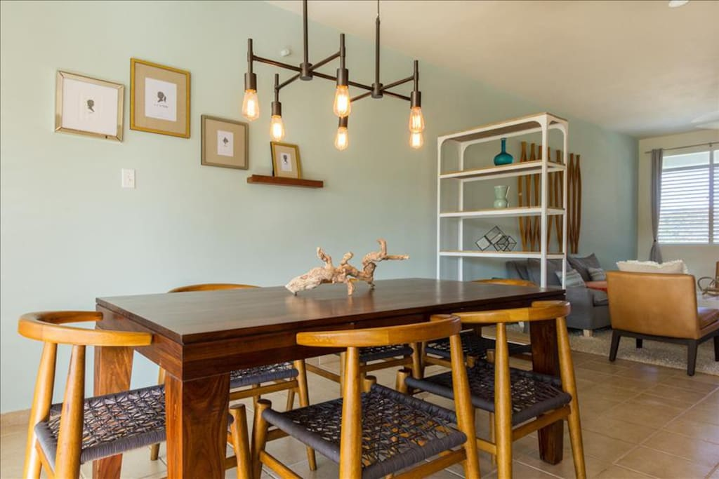 Contemporary dining table that comfortably seats 6