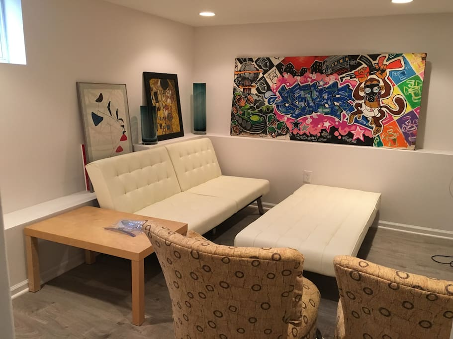 Entertainment room with ample seating, closet space, and a smart TV.  Sleeper sofa can fit 1-3 people.