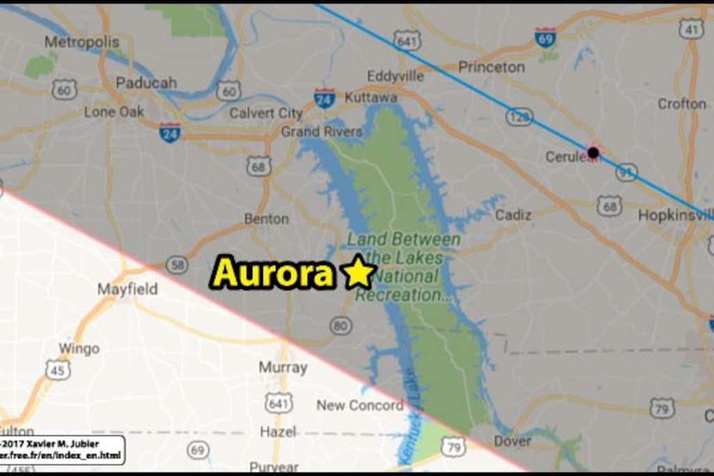 Aurora is 2 hours NW of Nashville, 3.5 hours NE of Memphis, 3.5 hours SW of Lousiville. Adjacent to Land Between the Lakes National recreation area.