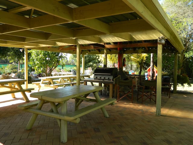 Undercover BBQ and fireplace