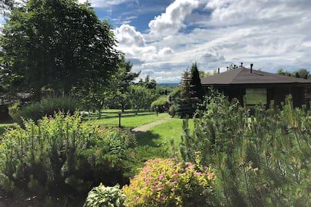 Дом в лесу с видом на озеро и садом