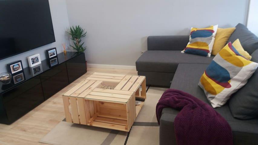 Salón con sofá cama de 140x200 cm.