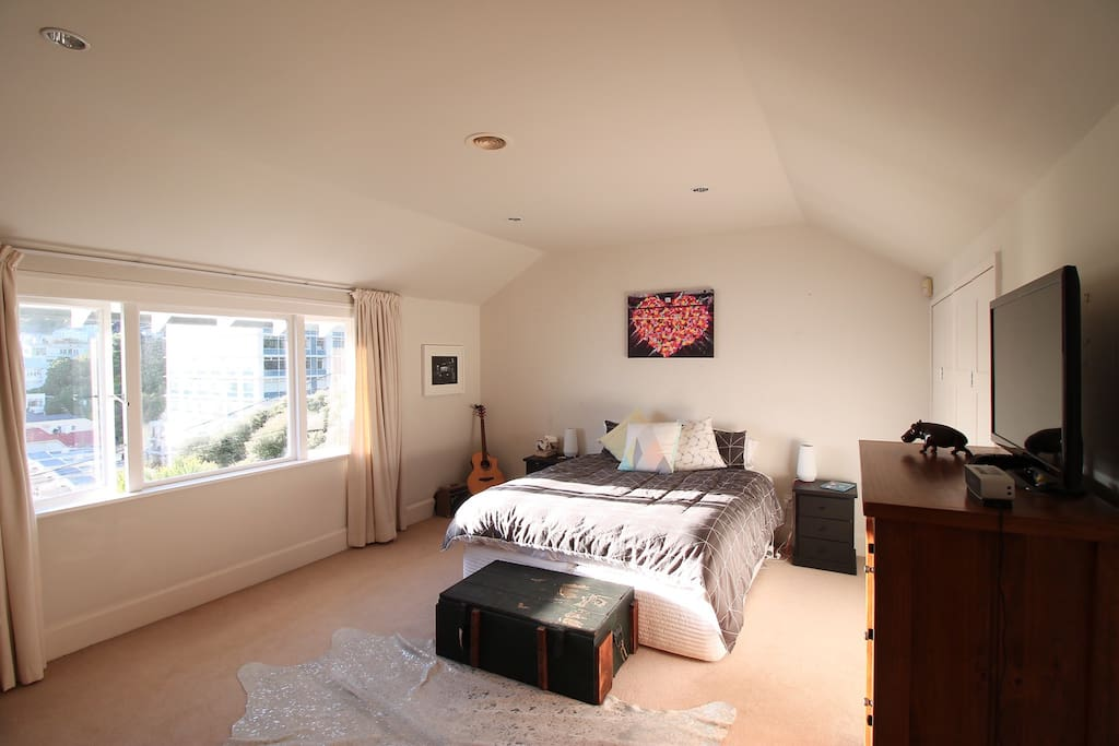 Master bedroom with great views over the sea