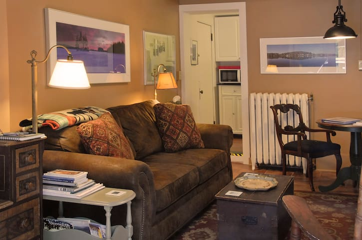 Here's the living room with its comfortable queen-size sofabed and Adirondack artwork, which is found thoughout the apartment.