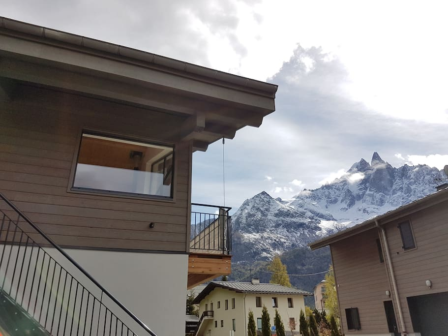 Enjoy mountain view on three sides of the chalet and the river on the fourth side.
