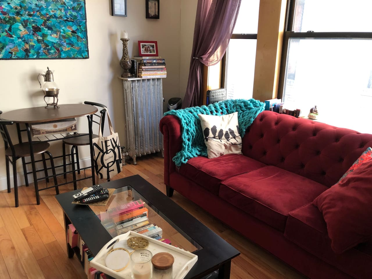 Shared living room has TV with access to Netflix, HBOGo, Hulu, Amazon Prime, and basic channels.