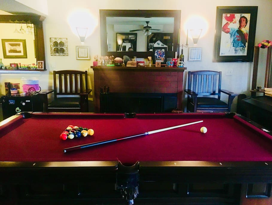 Regulation size pool table and usable fireplace. Please let us know before using fireplace as we need to open the ventilation upstairs.