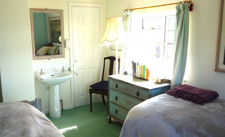Wash basin, drawers and hanging space. Soft comfortable beds to rest in.