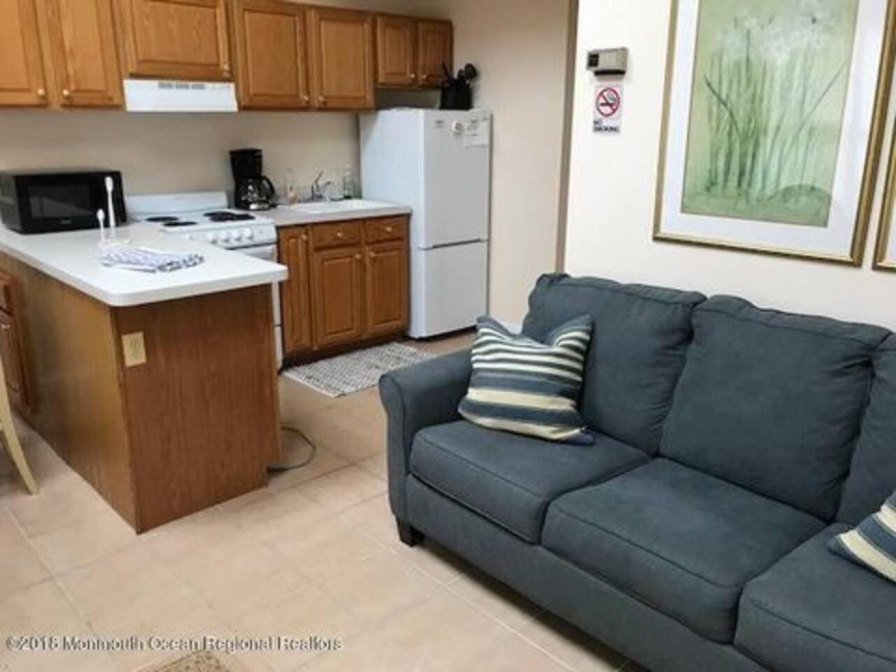 Living room, kitchenette