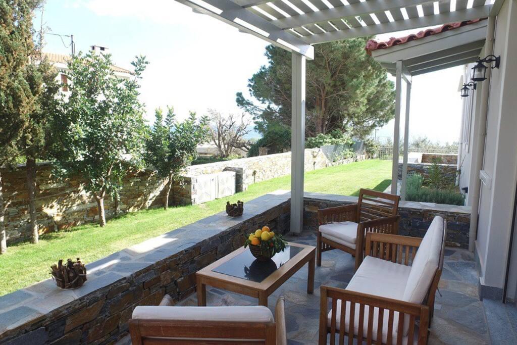 Balcony with garden and sea views